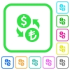 Dollar Lira money exchange vivid colored flat icons - Dollar Lira money exchange vivid colored flat icons in curved borders on white background