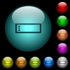 Editbox with editing cursor icons in color illuminated glass buttons - Editbox with editing cursor icons in color illuminated spherical glass buttons on black background. Can be used to black or dark templates