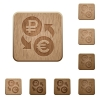 Ruble Euro money exchange wooden buttons - Ruble Euro money exchange on rounded square carved wooden button styles