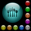 Cutlery icons in color illuminated glass buttons - Cutlery icons in color illuminated spherical glass buttons on black background. Can be used to black or dark templates