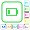 Low battery with one load unit vivid colored flat icons in curved borders on white background - Low battery with one load unit vivid colored flat icons