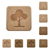 Leafy tree wooden buttons - Leafy tree on rounded square carved wooden button styles