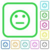 Neutral emoticon vivid colored flat icons - Neutral emoticon vivid colored flat icons in curved borders on white background