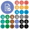 Document ok round flat multi colored icons - Document ok multi colored flat icons on round backgrounds. Included white, light and dark icon variations for hover and active status effects, and bonus shades on black backgounds.