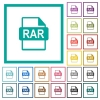 RAR file format flat color icons with quadrant frames - RAR file format flat color icons with quadrant frames on white background