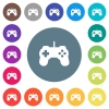 Game controller flat white icons on round color backgrounds - Game controller flat white icons on round color backgrounds. 17 background color variations are included.