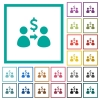 Send dollars flat color icons with quadrant frames - Send dollars flat color icons with quadrant frames on white background