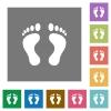 Human Footprints square flat icons - Human Footprints flat icons on simple color square backgrounds