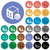 One day package delivery round flat multi colored icons - One day package delivery multi colored flat icons on round backgrounds. Included white, light and dark icon variations for hover and active status effects, and bonus shades on black backgounds.