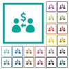 Receive Dollars flat color icons with quadrant frames - Receive Dollars flat color icons with quadrant frames on white background
