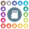 Micro SD memory card flat white icons on round color backgrounds - Micro SD memory card flat white icons on round color backgrounds. 17 background color variations are included.