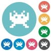 Video game flat round icons - Video game flat white icons on round color backgrounds