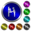 New Shekel cash machine luminous coin-like round color buttons - New Shekel cash machine icons on round luminous coin-like color steel buttons