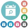 Find schedule item flat round icons - Find schedule item flat white icons on round color backgrounds