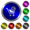 Checkout with Euro cart luminous coin-like round color buttons - Checkout with Euro cart icons on round luminous coin-like color steel buttons