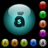 Dollar money bag icons in color illuminated glass buttons - Dollar money bag icons in color illuminated spherical glass buttons on black background. Can be used to black or dark templates
