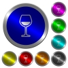 Glass of wine luminous coin-like round color buttons - Glass of wine icons on round luminous coin-like color steel buttons