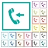 Incoming phone call flat color icons with quadrant frames on white background - Incoming phone call flat color icons with quadrant frames