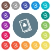 Card game flat white icons on round color backgrounds. 17 background color variations are included. - Card game flat white icons on round color backgrounds