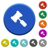 Judge hammer beveled buttons - Judge hammer round color beveled buttons with smooth surfaces and flat white icons