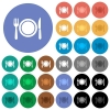 Dinner round flat multi colored icons - Dinner multi colored flat icons on round backgrounds. Included white, light and dark icon variations for hover and active status effects, and bonus shades on black backgounds.