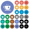 Cup of tea with teabag round flat multi colored icons - Cup of tea with teabag multi colored flat icons on round backgrounds. Included white, light and dark icon variations for hover and active status effects, and bonus shades on black backgounds.