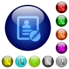 Edit contact color glass buttons - Edit contact icons on round color glass buttons