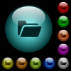 Folder open icons in color illuminated glass buttons - Folder open icons in color illuminated spherical glass buttons on black background. Can be used to black or dark templates