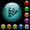 Color swatch icons in color illuminated glass buttons - Color swatch icons in color illuminated spherical glass buttons on black background. Can be used to black or dark templates