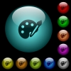 Paint kit icons in color illuminated glass buttons - Paint kit icons in color illuminated spherical glass buttons on black background. Can be used to black or dark templates