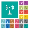 Wlan network square flat multi colored icons - Wlan network multi colored flat icons on plain square backgrounds. Included white and darker icon variations for hover or active effects.
