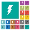 Lightning square flat multi colored icons - Lightning multi colored flat icons on plain square backgrounds. Included white and darker icon variations for hover or active effects.