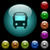 Bus icons in color illuminated spherical glass buttons on black background. Can be used to black or dark templates - Bus icons in color illuminated glass buttons