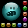 Bowling icons in color illuminated glass buttons - Bowling icons in color illuminated spherical glass buttons on black background. Can be used to black or dark templates