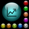 Line graph icons in color illuminated glass buttons - Line graph icons in color illuminated spherical glass buttons on black background. Can be used to black or dark templates