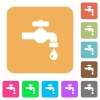 Water faucet with water drop rounded square flat icons - Water faucet with water drop flat icons on rounded square vivid color backgrounds.