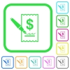 Signing Dollar cheque vivid colored flat icons - Signing Dollar cheque vivid colored flat icons in curved borders on white background