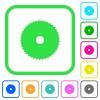 Circular saw vivid colored flat icons - Circular saw vivid colored flat icons in curved borders on white background