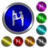 Lira cash machine luminous coin-like round color buttons - Lira cash machine icons on round luminous coin-like color steel buttons