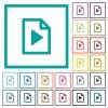 Playlist flat color icons with quadrant frames on white background - Playlist flat color icons with quadrant frames