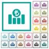 Turkish Lira financial graph flat color icons with quadrant frames - Turkish Lira financial graph flat color icons with quadrant frames on white background