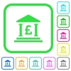 Pound bank office vivid colored flat icons - Pound bank office vivid colored flat icons in curved borders on white background