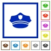 Police hat flat framed icons - Police hat flat color icons in square frames on white background