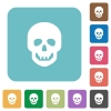 Human skull rounded square flat icons - Human skull white flat icons on color rounded square backgrounds