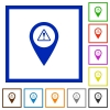 GPS map location warning flat framed icons - GPS map location warning flat color icons in square frames on white background