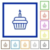 Birthday cupcake flat framed icons - Birthday cupcake flat color icons in square frames on white background