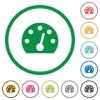 Dashboard flat icons with outlines - Dashboard flat color icons in round outlines on white background