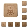 Military rank wooden buttons - Military rank on rounded square carved wooden button styles