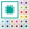 Computer processor flat color icons with quadrant frames - Computer processor flat color icons with quadrant frames on white background
