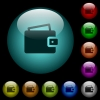 Single wallet icons in color illuminated glass buttons - Single wallet icons in color illuminated spherical glass buttons on black background. Can be used to black or dark templates